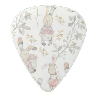 Cute Easter Bunnies Watercolor Pattern Acetal Guitar Pick