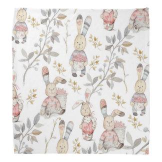 Cute Easter Bunnies Watercolor Pattern Bandana