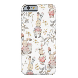 Cute Easter Bunnies Watercolor Pattern Barely There iPhone 6 Case