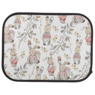 Cute Easter Bunnies Watercolor Pattern Car Mat