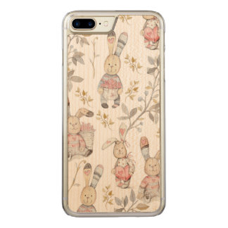 Cute Easter Bunnies Watercolor Pattern Carved iPhone 7 Plus Case