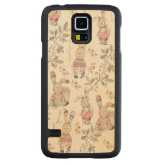 Cute Easter Bunnies Watercolor Pattern Carved Maple Galaxy S5 Case