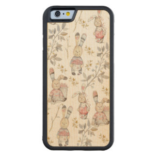 Cute Easter Bunnies Watercolor Pattern Carved Maple iPhone 6 Bumper Case