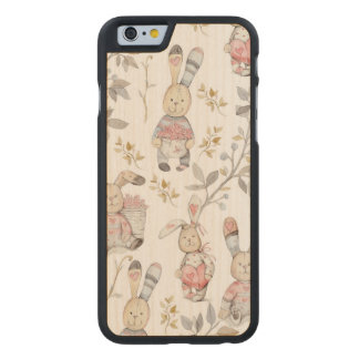 Cute Easter Bunnies Watercolor Pattern Carved Maple iPhone 6 Case
