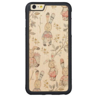 Cute Easter Bunnies Watercolor Pattern Carved Maple iPhone 6 Plus Bumper Case