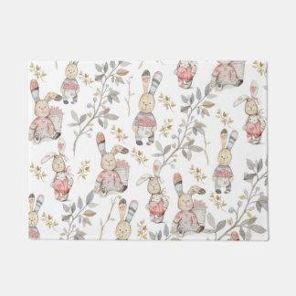 Cute Easter Bunnies Watercolor Pattern Doormat