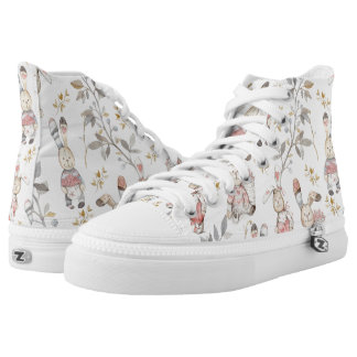 Cute Easter Bunnies Watercolor Pattern High Tops