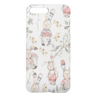 Cute Easter Bunnies Watercolor Pattern iPhone 7 Plus Case