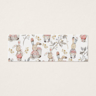 Cute Easter Bunnies Watercolor Pattern Mini Business Card