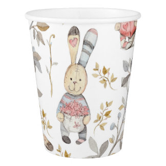 Cute Easter Bunnies Watercolor Pattern Paper Cup