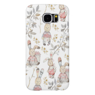 Cute Easter Bunnies Watercolor Pattern Samsung Galaxy S6 Cases