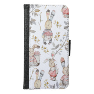Cute Easter Bunnies Watercolor Pattern Samsung Galaxy S6 Wallet Case