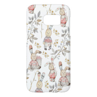 Cute Easter Bunnies Watercolor Pattern Samsung Galaxy S7 Case