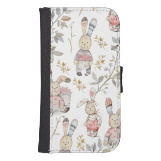 Cute Easter Bunnies Watercolor Pattern Samsung S4 Wallet Case