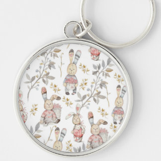 Cute Easter Bunnies Watercolor Pattern Silver-Colored Round Keychain
