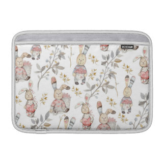 Cute Easter Bunnies Watercolor Pattern Sleeve For MacBook Air