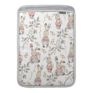 Cute Easter Bunnies Watercolor Pattern Sleeve For MacBook Air