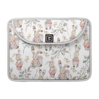Cute Easter Bunnies Watercolor Pattern Sleeve For MacBooks