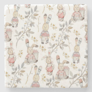 Cute Easter Bunnies Watercolor Pattern Stone Coaster