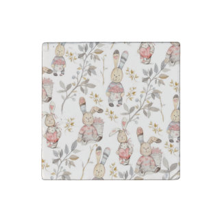 Cute Easter Bunnies Watercolor Pattern Stone Magnets