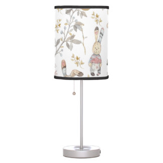 Cute Easter Bunnies Watercolor Pattern Table Lamp
