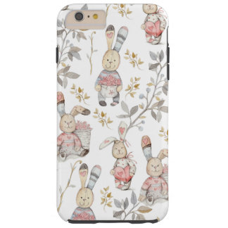 Cute Easter Bunnies Watercolor Pattern Tough iPhone 6 Plus Case