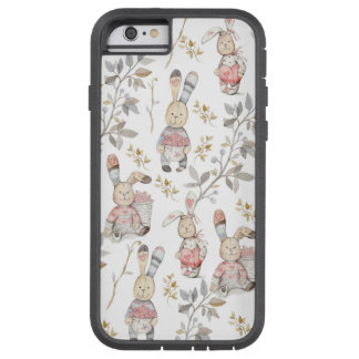Cute Easter Bunnies Watercolor Pattern Tough Xtreme iPhone 6 Case