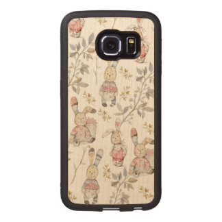 Cute Easter Bunnies Watercolor Pattern Wood Phone Case