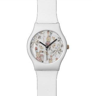 Cute Easter Bunnies Watercolor Pattern Wrist Watch