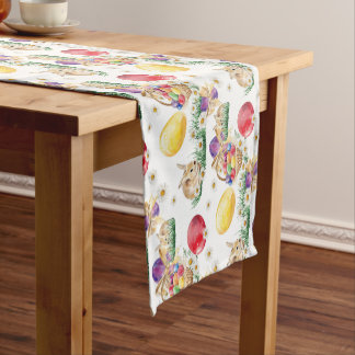 Cute Easter bunny and baskets table runner