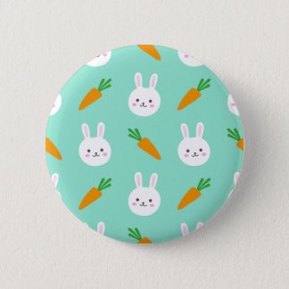 Cute easter bunny and carrots on aqua pattern 2 inch round button