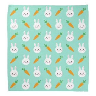 Cute easter bunny and carrots on aqua pattern bandana