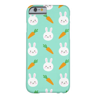 Cute easter bunny and carrots on aqua pattern barely there iPhone 6 case