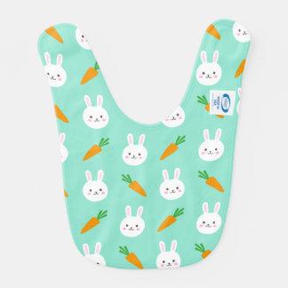 Cute easter bunny and carrots on aqua pattern bib