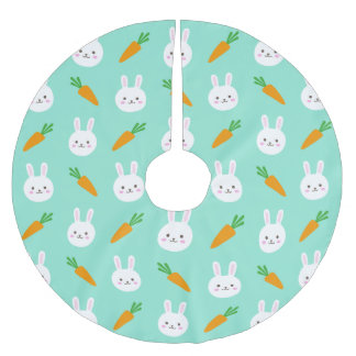 Cute easter bunny and carrots on aqua pattern brushed polyester tree skirt