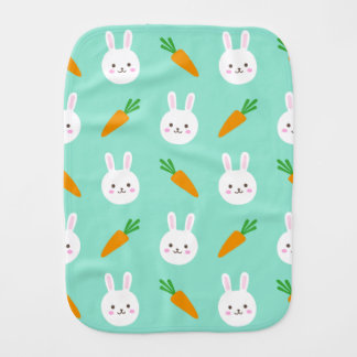Cute easter bunny and carrots on aqua pattern burp cloth