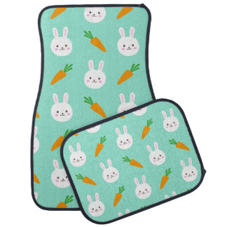 Cute easter bunny and carrots on aqua pattern car mat