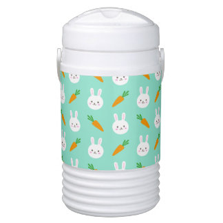 Cute easter bunny and carrots on aqua pattern cooler