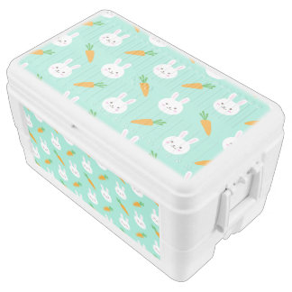 Cute easter bunny and carrots on aqua pattern ice chest