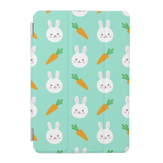 Cute easter bunny and carrots on aqua pattern iPad mini cover