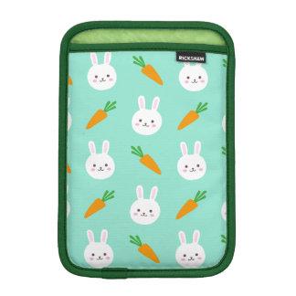 Cute easter bunny and carrots on aqua pattern iPad mini sleeve