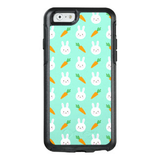 Cute easter bunny and carrots on aqua pattern OtterBox iPhone 6/6s case