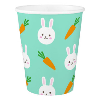 Cute easter bunny and carrots on aqua pattern paper cup