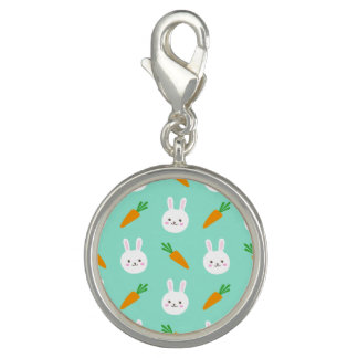 Cute easter bunny and carrots on aqua pattern photo charms