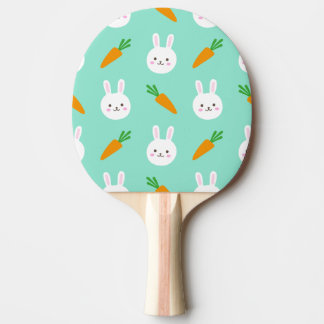 Cute easter bunny and carrots on aqua pattern ping pong paddle