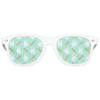 Cute easter bunny and carrots on aqua pattern retro sunglasses