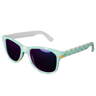 Cute easter bunny and carrots on aqua pattern sunglasses