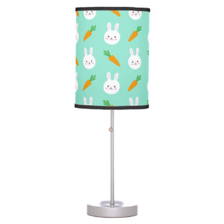 Cute easter bunny and carrots on aqua pattern table lamp