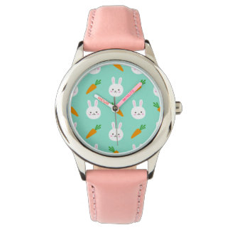 Cute easter bunny and carrots on aqua pattern watch
