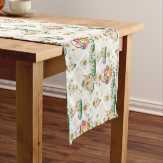 Cute Easter bunny and egg basket table runner